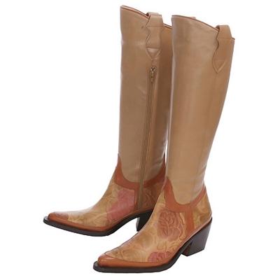 M. G. SEBA 米駝色玫瑰花紋西部長筒靴(展示品)