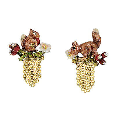 Les Nereides 動物花園系列 小花松鼠漿果流蘇耳環 耳針式