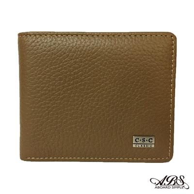 ABS愛貝斯 男用短夾 橫式皮夾 雙層鈔票層(卡)7073-012