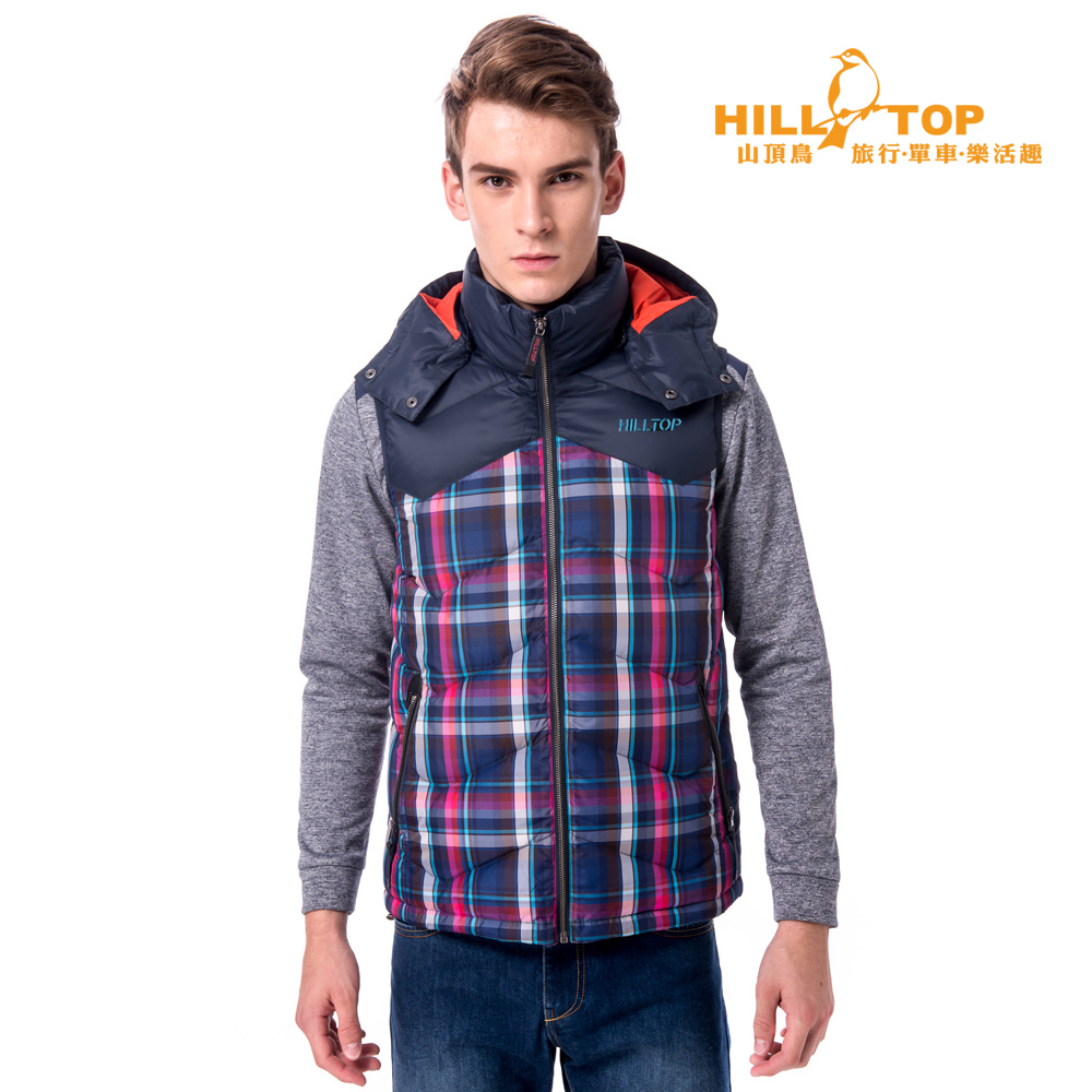 【hilltop山頂鳥】男款超撥水蓄熱羽絨背心F25MF5深藍/紅格子