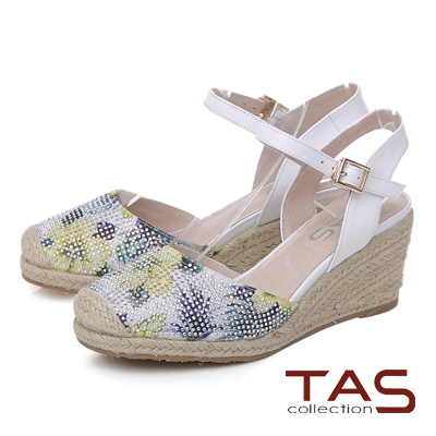 TAS 鳳梨水鑽草編楔型涼鞋-優雅白
