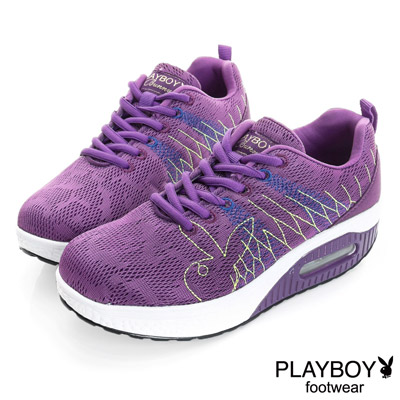 PLAYBOY 青春漾彩 編織綁帶氣墊休閒鞋-紫(女)