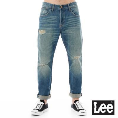 Lee 101+ 牛仔褲低腰合身直筒牛仔七分褲-男款-藍