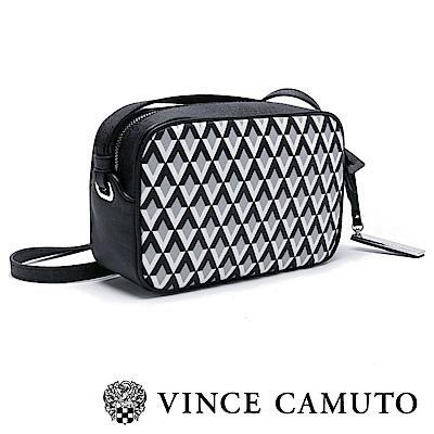 Vince Camuto 簡約菱格紋斜背方包-黑色