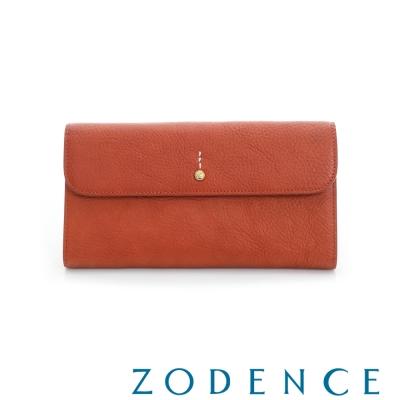 ZODENCE 義大利質鞣革系列迷你LOGO設計多卡層長夾 橘紅