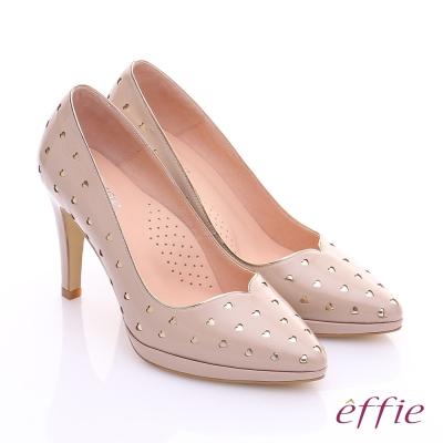 effie 摩登美型 鏡面牛皮金箔愛心窩心高跟鞋 膚