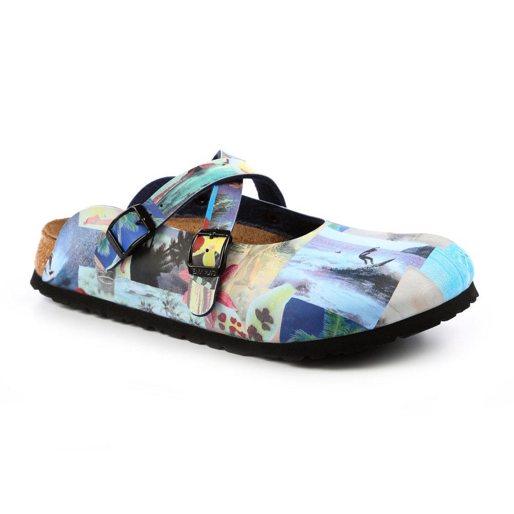 勃肯birki's 531193。DORIAN多利安 交叉包頭拖鞋(藍色抽象)