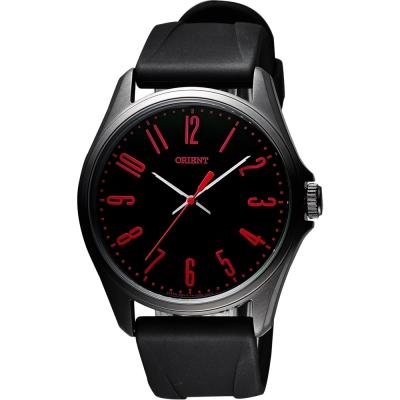 ORIENT 流行風尚石英腕錶-黑x紅時標/43mm