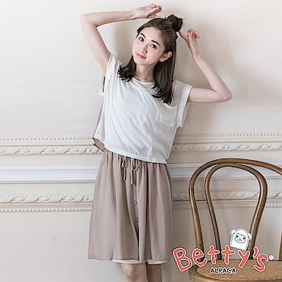 betty's貝蒂思 雪紡拼接棉質兩件式短上衣+無袖洋裝(白色)