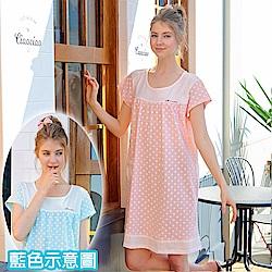 睡衣 點點精梳棉柔針織短袖連身睡衣(R75018-5淺水藍) 蕾妮塔塔