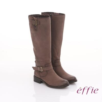 effie 城市漫遊 經典質感真皮雙釦飾長靴 灰