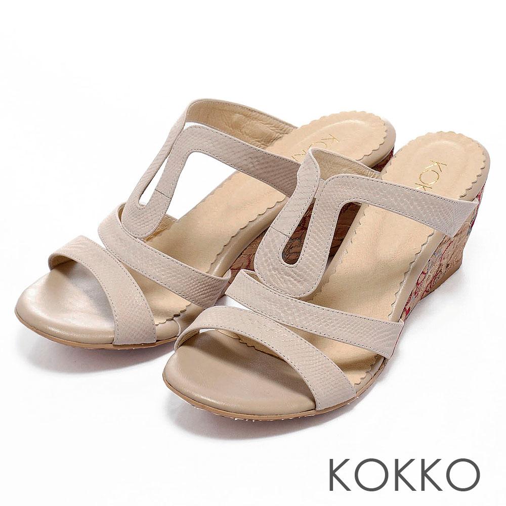 KOKKO夏日陽光氣息‧印花圖騰厚底楔形涼鞋 - 優雅白