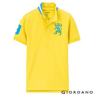 GIORDANO 男裝勝利獅王3D刺繡彈力萊卡POLO衫-41 鮮黃