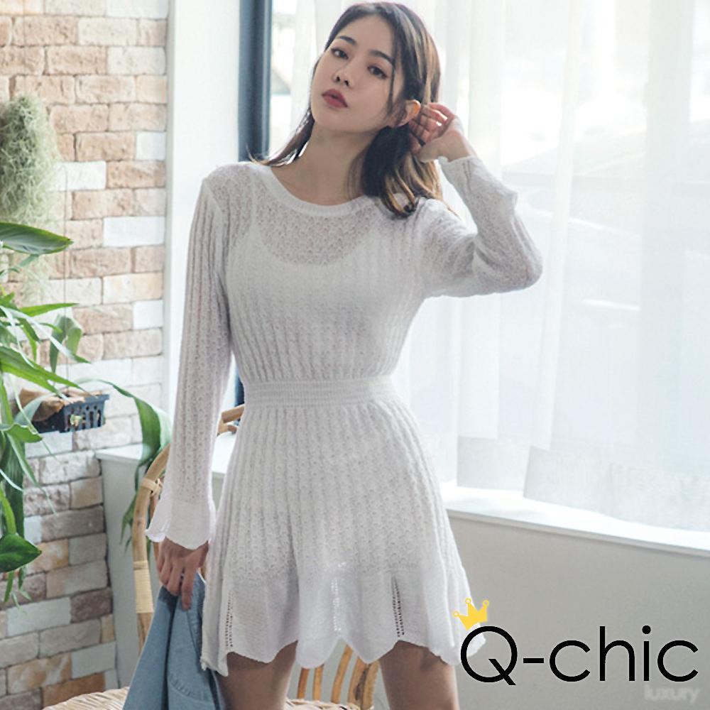 正韓 透膚針織荷葉拼接收腰洋裝 (共四色)-Q-chic