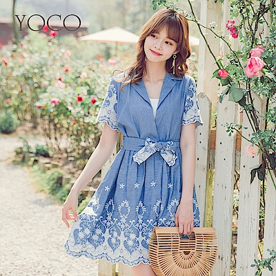 東京著衣-yoco 甜美度假翻領綁帶刺繡牛仔洋裝-S.M.L(共一色)