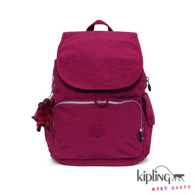 Kipling-後背包-深桃粉素面