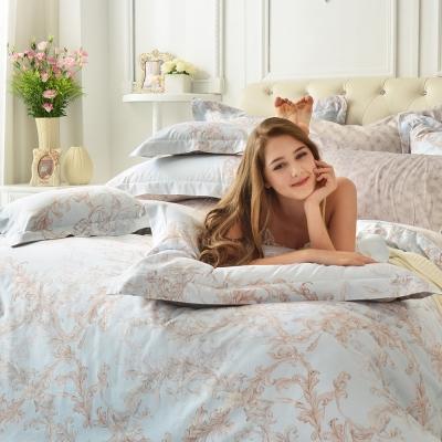 義大利La Belle 微光絮語 雙人貢緞四件式防蹣抗菌舖棉兩用被床包組