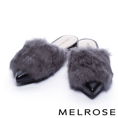 拖鞋 MELROSE 雍容兔毛造型奢華點綴粗跟拖鞋-灰