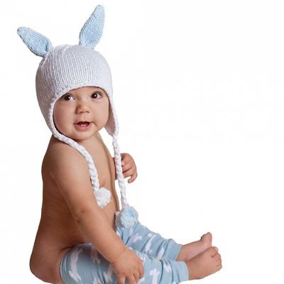 Huggalugs 可愛藍色兔兔耳編織棉帽