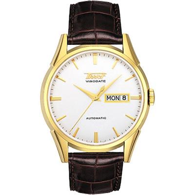 TISSOT VISODATE 1957 復刻機械腕錶-金/銀白/39.3mm