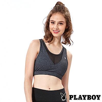 PLAYBOY性感拼接運動瑜珈款內衣(灰色01A17006)