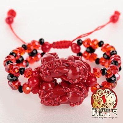 狂銷紅珊瑚雙貔貅精品手鏈/手鍊