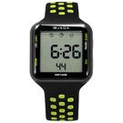 JAGA 捷卡 方型電子計時碼錶鬧鈴防水透氣運動矽膠手錶-黑綠色/38mm