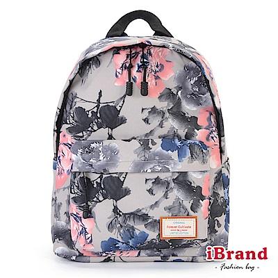 iBrand 學院風印花潮流防潑水口袋後背包-玫瑰