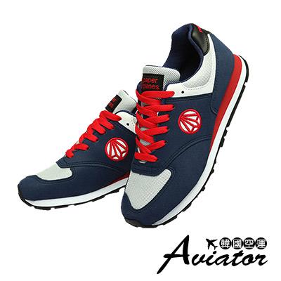 Aviator*韓國空運-PAPERPLANES正韓製麂皮網布透氣運動鞋-藍紅