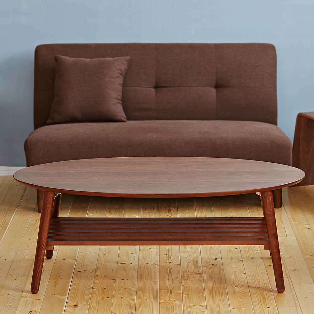 Bed Maker-起司薄片 大茶几‧收納/折疊/實木椅腳茶几(附棚板/二色)