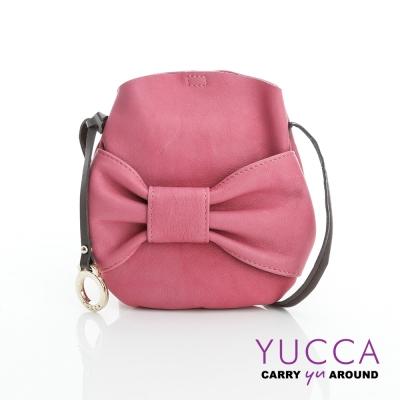 YUCCA - 甜美蝴蝶結牛皮小包-粉紅色-D013112