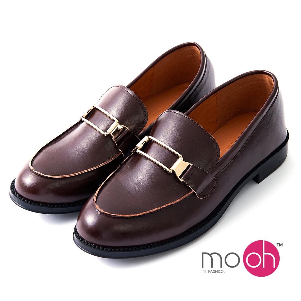 mo.oh -英倫金屬扣低跟皮鞋樂福鞋-棕色