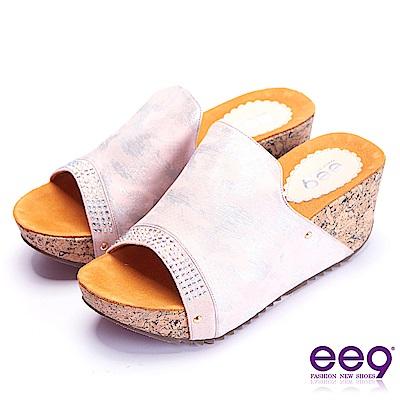 ee9 經典手工鑲嵌金屬鉚釘軟木紋楔形跟拖鞋 粉色