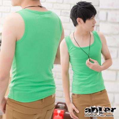 男內衣  純色基本款百搭背心(綠) aDLer