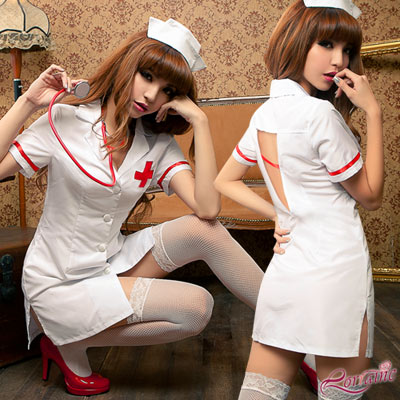 護士服 愛的照料三件式護士角色扮演服(白F) Lorraine