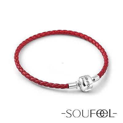 SOUFEEL索菲爾 925純銀珠飾 牛皮手鍊 典雅紅