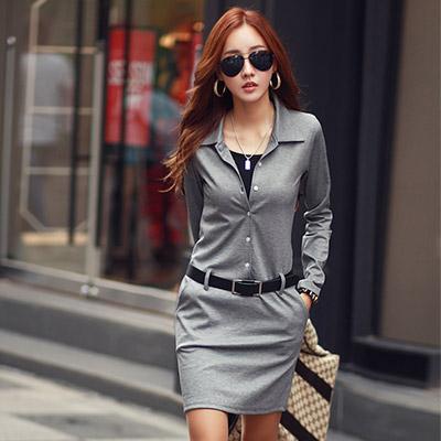 開襟排釦長袖連身短裙 (共三色)-N.C21