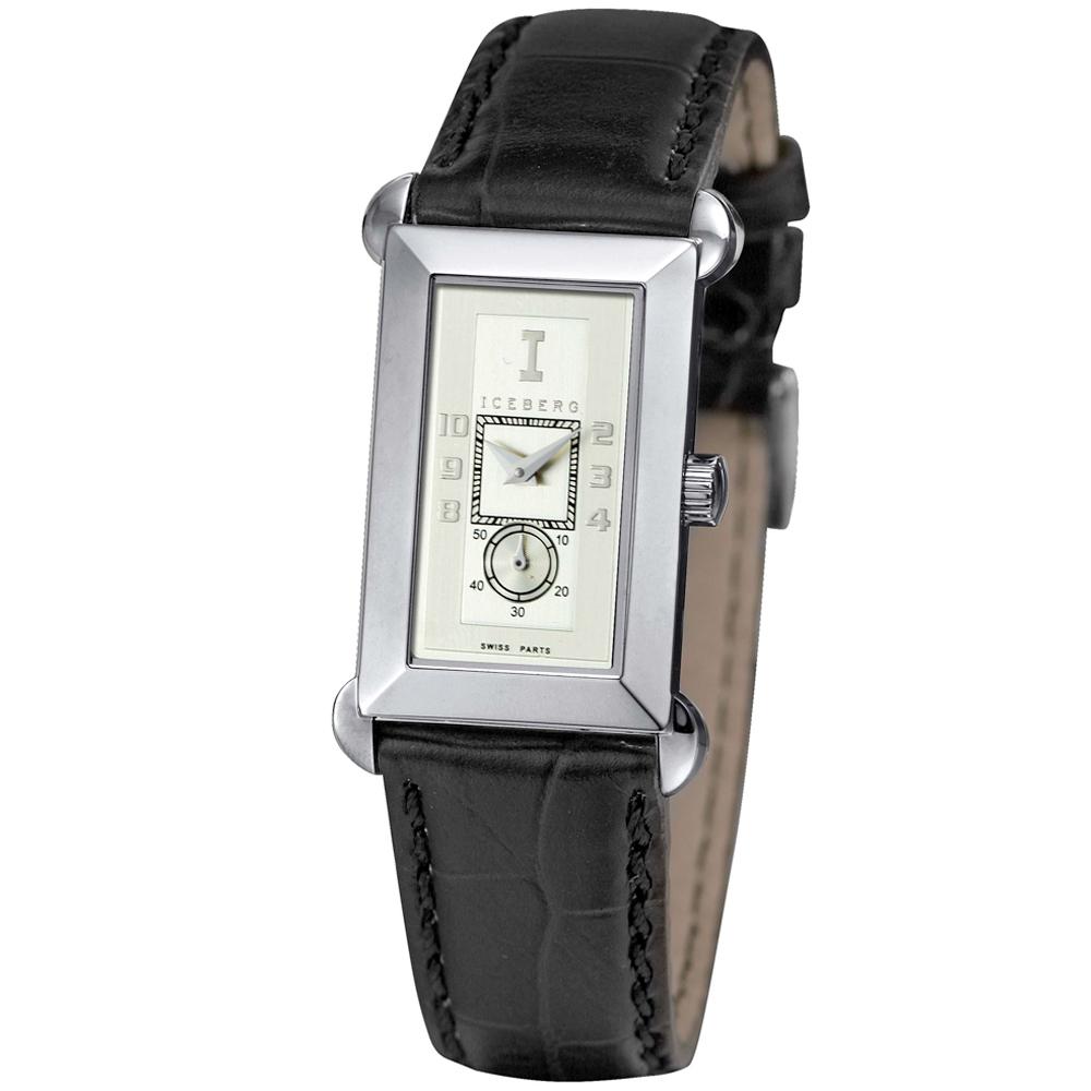ICEBERG 舊愛新歡系列時尚腕錶-白x黑色錶帶/22x34mm
