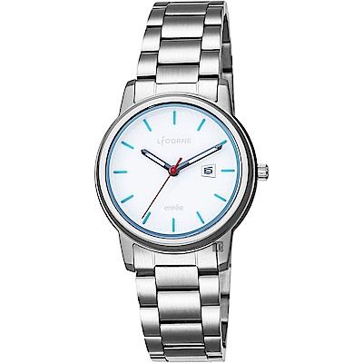 LICORNE力抗 entree 品味生活時尚手錶-藍時標x銀/32mm