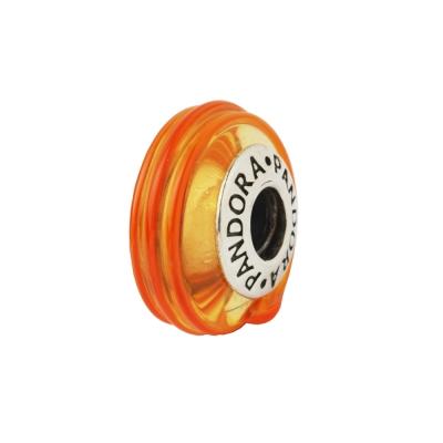 Pandora 潘朵拉 線條裝飾琉璃墜-橘色
