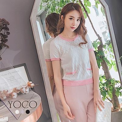 東京著衣-yoco 典雅呢裳多色格紋配色針織上衣-S.M.L(共三色)