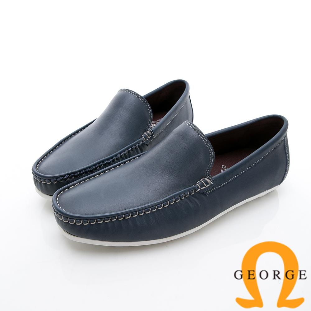 GEORGE 喬治-舒適系列 經典素面樂福鞋休閒鞋-寶藍