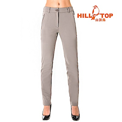 【hilltop山頂鳥】女款吸濕快乾彈性超潑水長褲S07FG5-卡其