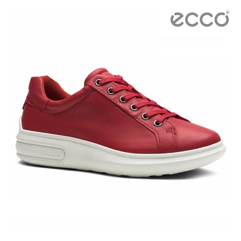 ECCO SOFT 3 潮流厚底增高休閒鞋-紅