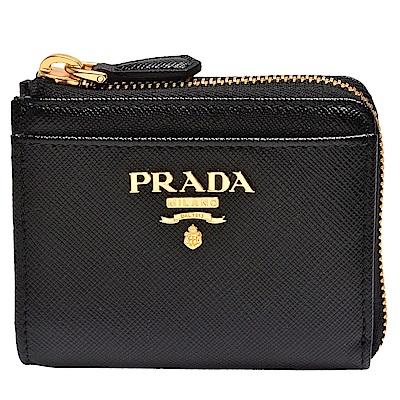 PRADA Saffiano經典金色金屬浮雕LOGOG防刮牛皮L型拉鍊零錢包(黑)