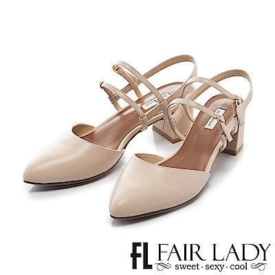 Fair Lady 優雅小姐Miss Elegant 復古雙繫帶粗跟尖頭涼鞋 膚