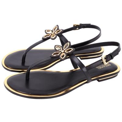 Michael Kors 花朵飾金色滾邊夾腳涼鞋(黑色)