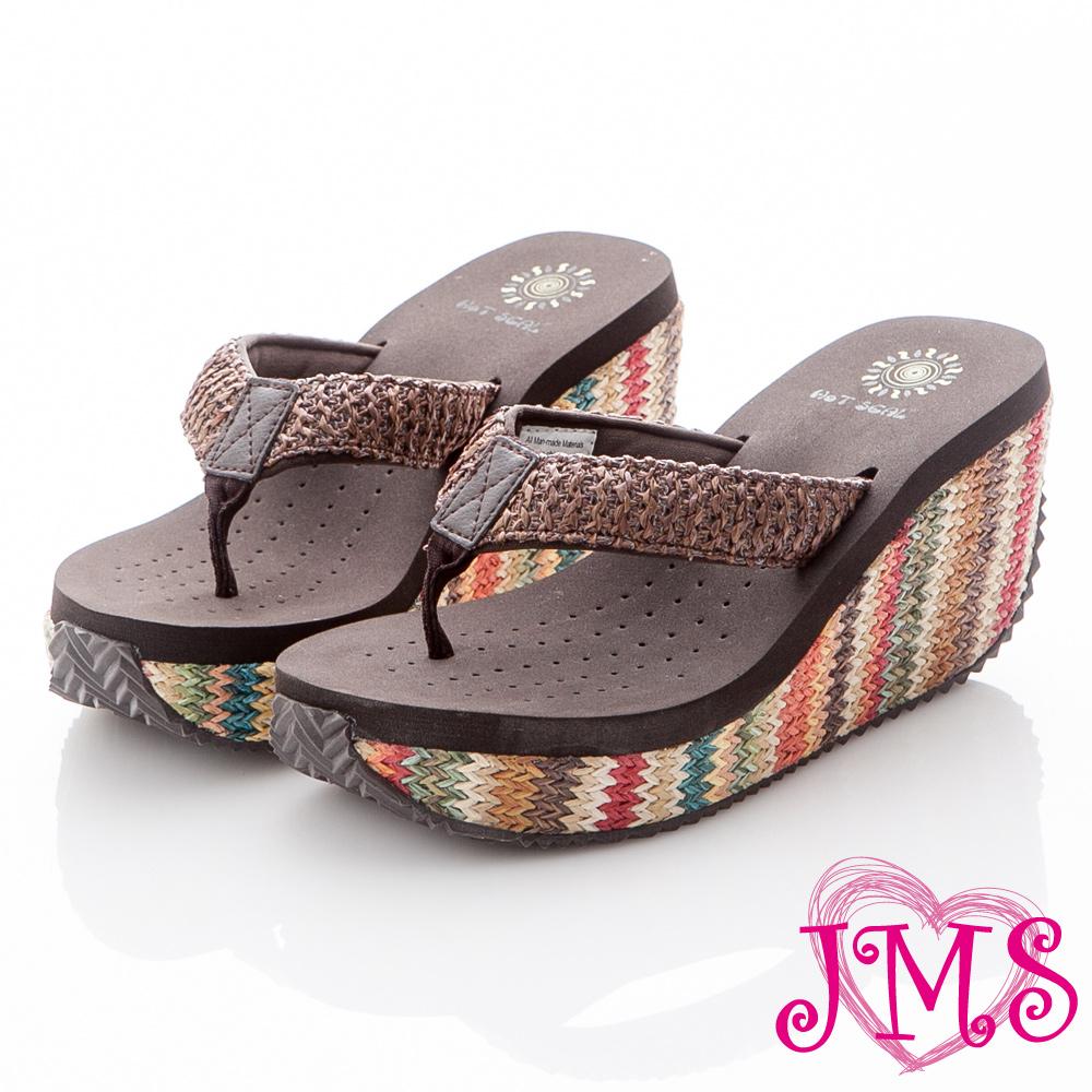 JMS-超舒適彩色編織麻底海灘鞋(高跟款)-深咖