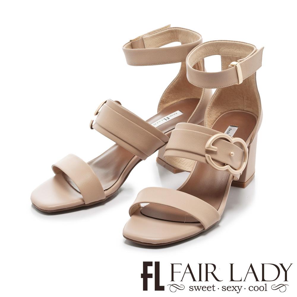 Fair Lady 金屬釦環腳踝繞帶粗跟涼鞋 粉
