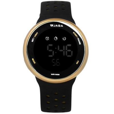 JAGA 捷卡  電子運動計時鬧鈴冷光照明透氣矽膠手錶-黑金色/43mm